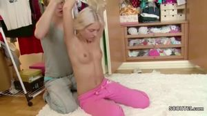 Fucking, Blonde, Hardcore, Blowjob, Small tits, Monster cock, Big cock